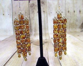 Hand Woven Brown Fringe Glass Earrings