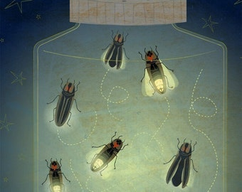 Fireflies Art for Kids Room Decor, Kids Wall Art, Lightning Bug Art, Firefly Art Print, Childrens Art Print, The Enlightened Fireflies