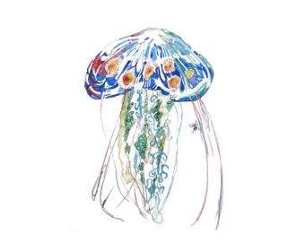 Jellyfish -  Matted limited edition print from original 13x19 or 8.5x11 // Home Decor Beach Art Beach House