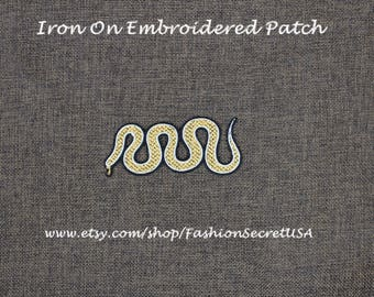 Snake Patch Golden Snake Iron On Patch 3.9'' x 1.7'' Snake Patch Top Quality Cool Patch Trendy Patch Embroidered Snake Custom Made #A7