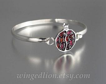 Bracelet JUICY POMEGRANATE Garnet & Sterling Silver hook and eye bangle