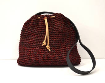Crochet crossbody bag, Bucket bag, Drawstring bag