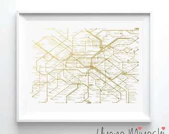 Paris Metro Map I Gold Foil Print, Gold Foil Print, Paris Underground Map I Print in Gold, Illustration Art Print, Gold Foil Art Print