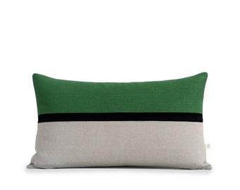 Horizon Line Pillow Cover in Meadow Green, Black & Natural Stripes by JillianReneDecor, Modern Home Decor, Horizontal Striped Colorblock