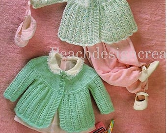 knitting pattern, pdf, baby girls, matinee jackets, sizes 17-19 in, digital download