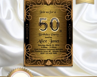 Elegant Gold and Black Birthday Party Invitation, 30th 40th 50th 60th 70th 80th 90th, Great Gatsby, Art Deco - Printable, GG03