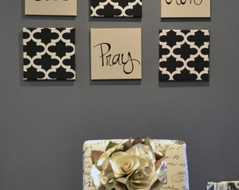 Eat Pray Love Wall Art Pack Of 6 Canvas Hangings Hand Painted Fabric Upholstered Dining