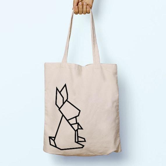 Origami Rabbit Geo Illustration Drawing Cotton Shopper Model