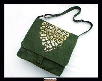 OLIVE GREEN DENIM Adinkra Large Crossbody Messenger/Shoulder Bag With Blazing Gold Adinkra Symbols w/ Internal & External Pockets
