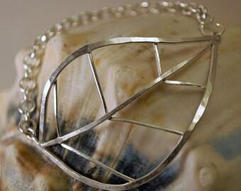 Sterling Silver Large Leaf Bracelet