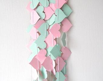 Heart Garland / Mint Pink Heart Garland / Adjustable Hand Sewn / Love Photo Prop / Wedding Garland / Nursery Decor