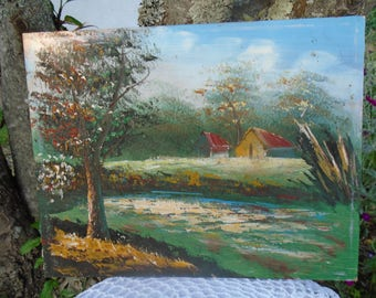 Original painting - oil depicting a landscape - painting on wood