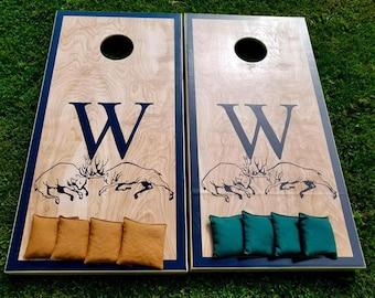 Hunting Monogram Cornhole Board Set with Bags -  Yard Game Backyard Rustic Party Fun
