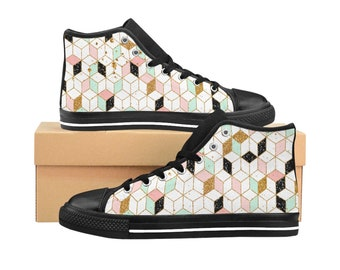 Womens High Top Sneakers, High top shoes, Sneakers Gifts for Her,  Teen Sneakers, Unique print shoes, Custom Sneakers