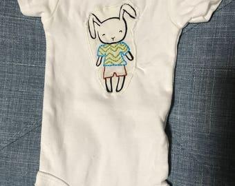 Hand-Embroidered Newborn Onesie