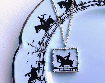 Broken china jewelry - china necklace pendant - equestrian - horse lover - made from an antique broken china plate, Dishfunctional Designs
