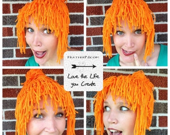 Secret Agent Any Size Crocheted Orange Yarn Wig Handmade
