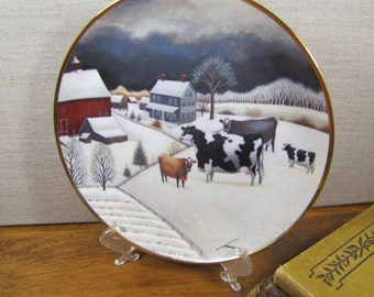 The American Folk Art Collection - Decorative Plate - Cows in Winter - Artist:  Lowell Horrero