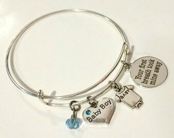 New Mom bangle bracelet - New Baby bracelet - Baby boy - New Mom bracelet - New Mom charm bracelet - New Mother bangle bracelet - new baby