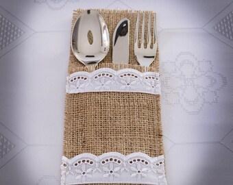 Wedding Table Settings, Rustic Table Decoration, Burlap Flatware Holder, SET OF 6