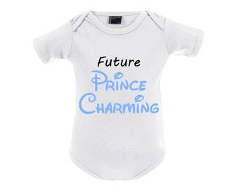 Baby Body mit Print Jungen Strampler mit Druck Future prince charming Prinz für Jungs weiß hellblau Gr. 50-92 NEU !!!
