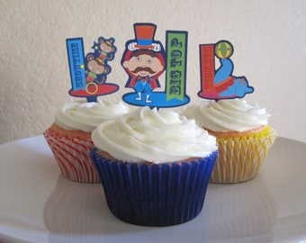 12 Circus Cupcake Toppers