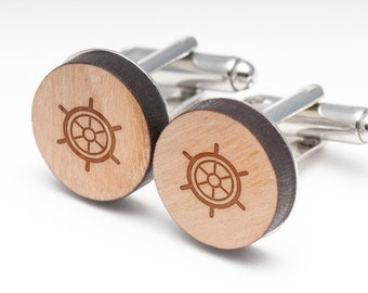 Boat Wheel Wood Cufflinks Gift For Him, Wedding Gifts, Groomsman Gifts, and Personalized