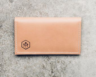 checkbook cover + holder in beige leather