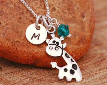 Sterling Silver Giraffe Necklace, Sterling Silver Girls Necklace, Personalised, Birthstone Necklace, Initial Necklace, Gift for Her