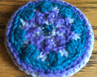 Purple and Blue Pocket Mirror - Elegant Overal Crochet Work with Beading