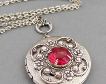 Rubies Red,Locket,Antique Locket,Silver Locket,Red,Vintage,Rhinestone,Vintage Ruby,Necklace,Ruby Locket,Ruby Necklace,Red.Valleygirldesigns.