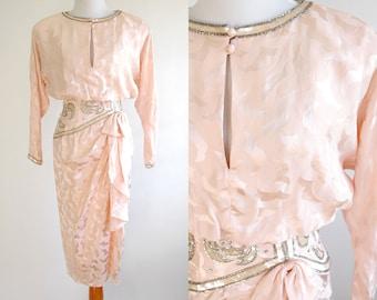 80s Light Pink Silk Beaded Dress - Dramatic 1980s Dress - Elegant Silk Beaded Dress - Formal Evening Gown - A.J. Bari Dress - Size XS Small