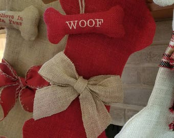 Burlap, Bones and Bows Stocking with matching ornament