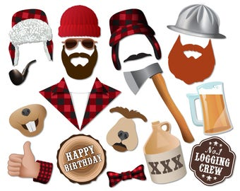 Lumberjack birthday photo booth props. Lumberjack Party, logging crew, loggers. Instant download - 0190