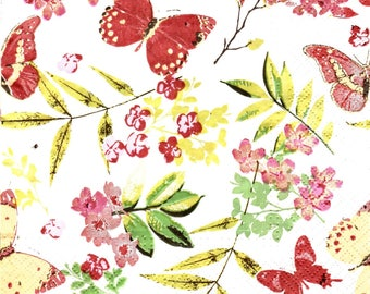 595 BUTTERFLIES and small flowers pattern 4 X 1 lunch size paper towel