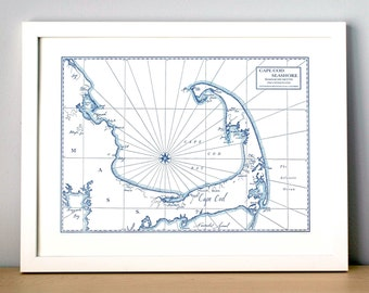 Cape Cod Bay and Seashore, Letterpress Map Art Print (Navy)