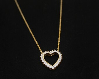 Rhinestone and Goldtone Valentine Necklace