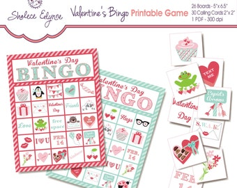 Valentine's BINGO Printable Game, Instant Download