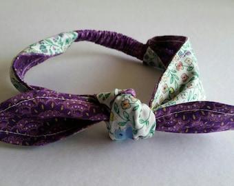 Little birdies knot bow headband, baby headband, floral, cotton, girl's hair accessories, Australian handmade