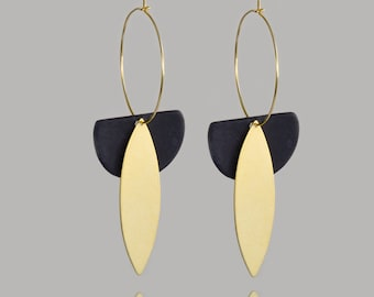 Black ceramic hoop earrings with gold - made in France - porcelain jewelry
