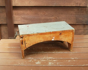Workbench Stool, Vintage Scrap Wood Bench, Rustic Stool