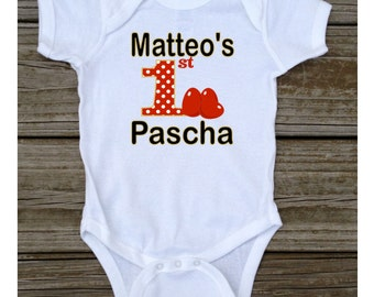 Personalized First 1st Pascha T-shirt or Baby Bodysuit Red Eggs Black Gold Pascha Tshirt or Bodysuit - White, Grey, Light Blue, Light Pink