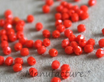 Last set! (200pc) 3mm clear Red bead Czech glass faceted Czech glass beads