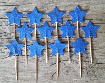 12 Blue Star Cupcake Toppers