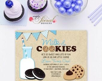 Milk and Cookies Birthday Party Invitation Blue Boy Kids Printable