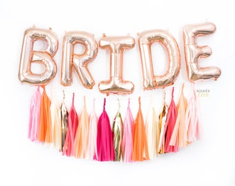 "BRIDE BALLOON BANNER | 16"" Rose Gold Silver Balloon Garland, Metallic, Wedding, Bridal Shower, Bachelorette, Engaged, Married, Engagement"
