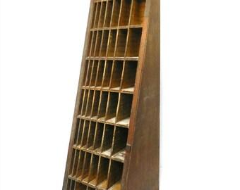 Antique Industrial Print Block Tray / Shelf...Wedge Shelf... Early