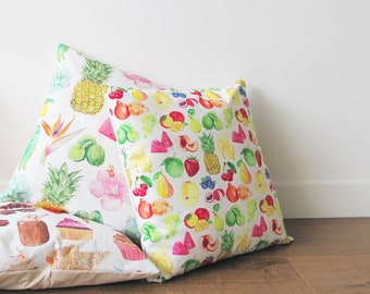 Fruity Cotton Cushion - to fit 45 - 50cm Square Couch Cushion Lounge Room Decor with Fruit Watercolour Illustrations