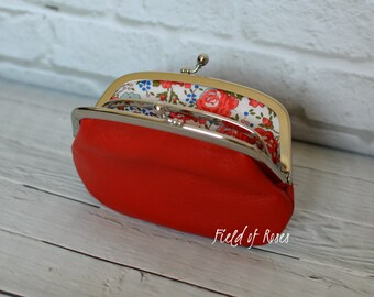 Women's Leather Wallet with Divider Red Liberty of London Rose Floral Lining Made to Order