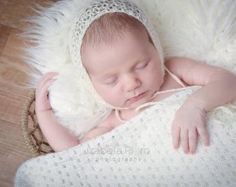 Newborn knit mohair bonnet
